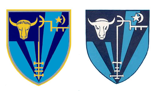 Two renderings of the crest
